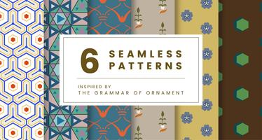 Set mit 6 Vintage-Mustern, inspiriert von The Grammar of Ornament