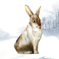 Wildes braunes Kaninchen in einem Wintermärchen gemalt durch Aquarellvektor