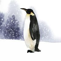 Emperor penguin in the snow watercolor vector