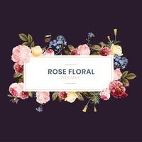Ilustración floral floración rosa marco
