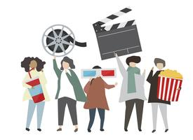 People holding movie concept icon illustration