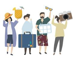 People traveling on holiday illustration