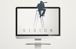 Moniteur écran vision mot vecteur concept