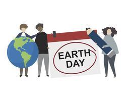 Gente que muestra una ilustración del concepto del Día de la Tierra