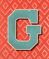 Letra maiúscula G estilo vintage de tipografia