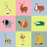 Collection of cute wild animals illustrations