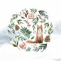Räv i naturen målad med akvarell