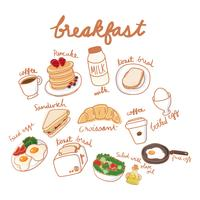 Illustration drawing style of food collection