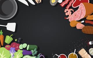 Kokende ingrediënten en hulpmiddelen vectorreeks