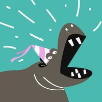 Historieta linda del hipopótamo que lleva un diseño del vector del sombrero del partido