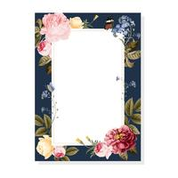 Blank floral frame card illustration