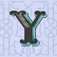 Letra maiúscula Y estilo vintage de tipografia