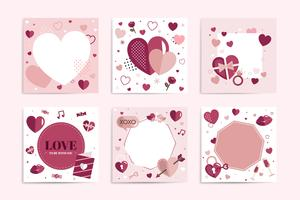 Valentine's day heart background set