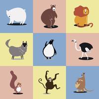 Samling av söta vilda djur illustrationer