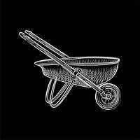 Tappning illustration av en skottkärra