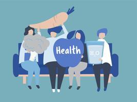 Caractères des personnes détenant des icônes de santé illustration