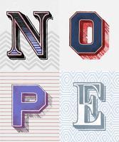 Nope palabra estilo tipografía vintage