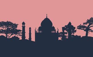 Silhouet van de Taj Mahal-vector