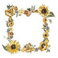 Illustration vintage d'un cadre composé de fleurs