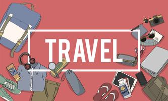 Illustration of travel packing