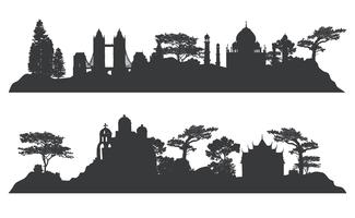 Collection of architectural landmarks vector