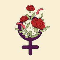 Símbolo de la mujer con el vector de flores y hojas