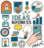Handdragen uppsättning idéer och affärssymboler illustration