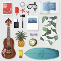 Illustrazione di roba da imballaggio estivo