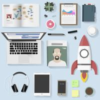 Flatlay office vector
