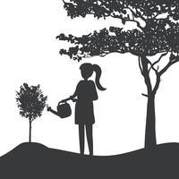 Silueta, menina, molhando, planta, vetorial