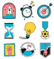 Insieme disegnato a mano dell'illustrazione di simboli di affari e idea