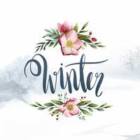 Vetor de tipografia de caligrafia aquarela de inverno