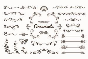 Conjunto de coleção de elementos de ornamento Vintage no fundo branco