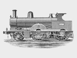 Locomotive (1891) de Francis William Webb (1836–1906), un dessin magnifiquement détaillé d'un train de machines et de ses compartiments Augmenté numériquement par rawpixel.