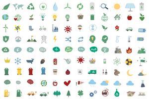 Insieme dell'illustrazione delle icone environmentally