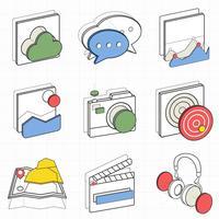 Ilustração conjunto de ícones de recreação
