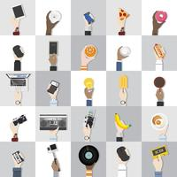 Collection of technology and food vectors