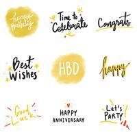 Insieme di vettori di tipografia celebrativi gialli