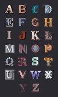 El alfabeto de letras mayúsculas vintage