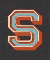 Stor bokstav S vintage typografi stil