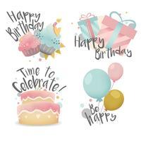 Insieme di vettore di disegno di auguri di compleanno