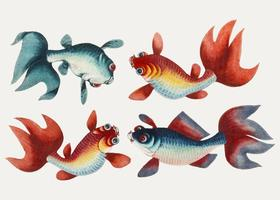 Chinese painting featuring two gold and two silver fish.
