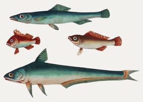 Kinesisk målning av två gröna fiskar och två bruna fiskar.