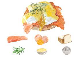 Hand drawn egg benedic watercolor style
