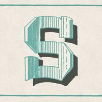 Capital letter S vintage typography style
