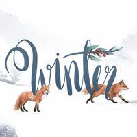 Vetor de tipografia de estilo aquarela de inverno