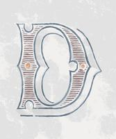 Capital letter D vintage typography style