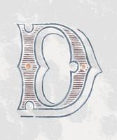 Huvud bokstaven D vintage typografi stil