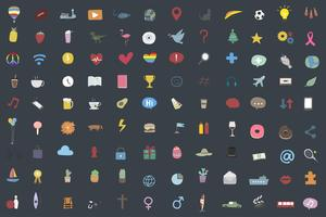 Set of random and popular icons