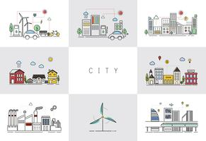 Eco friendly city vector